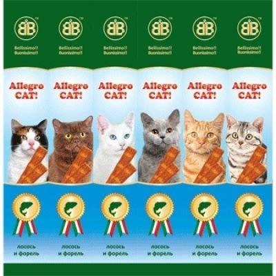 Allegro Cat Лакомство Колбаски Лосось форель для кошек 6 шт