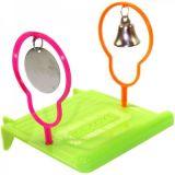 Penn Plax Площадка для птиц с колокольчиком и зеркалом 11*11*11 см